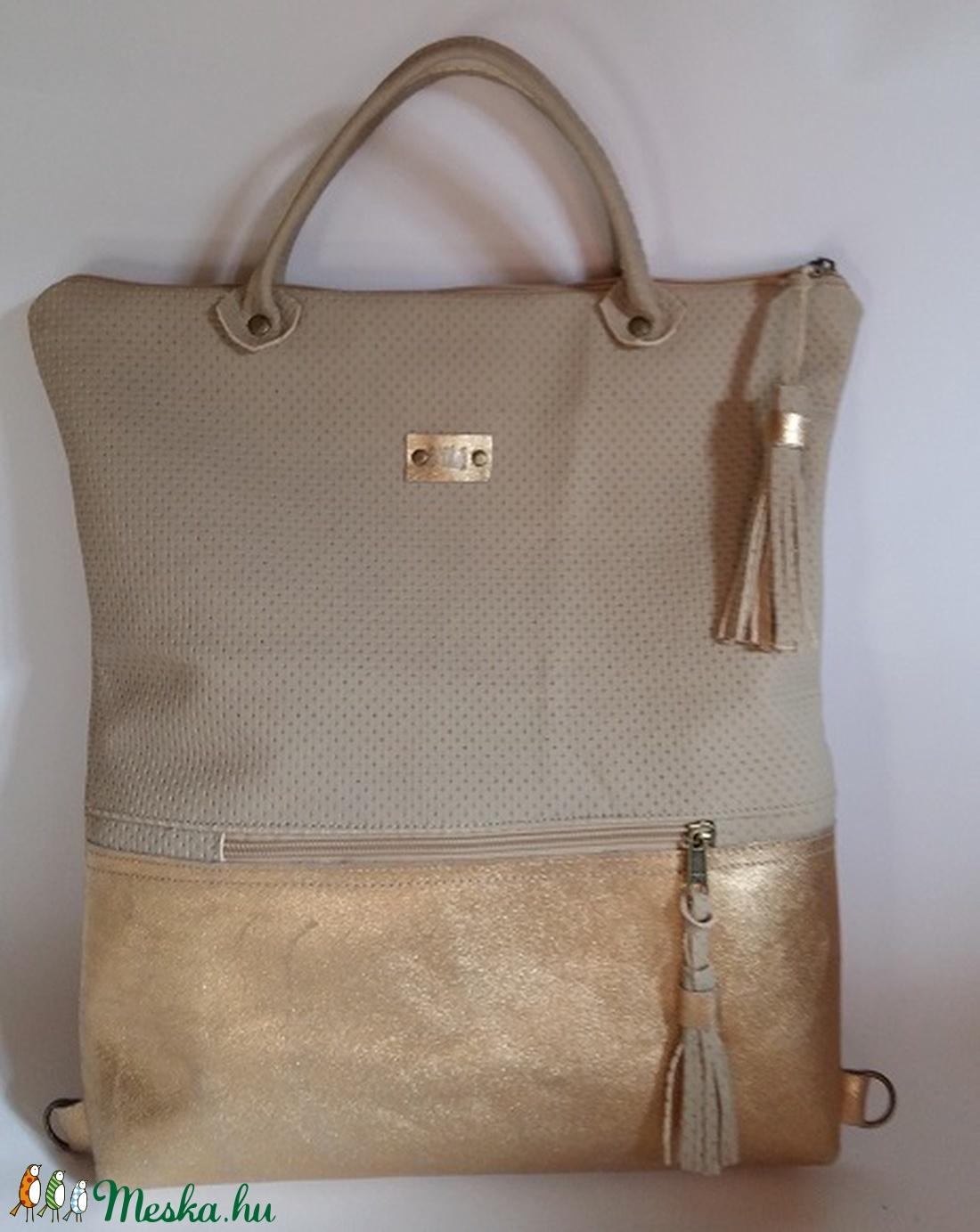 Bőrtáska arany és beige női táska hátizsák super divatos egyedi dartab ( BYildi) - Meska ... a9d3dfdf14