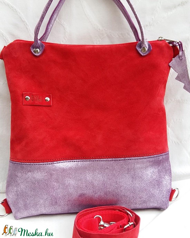 Bőrtáska piros és lila női táska hátizsák super divatos egyedi dartab 00fb4463dc