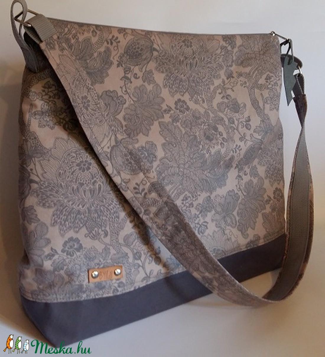 Vászontáska szürke virágmintás nagyméretű táska c74224c4f4