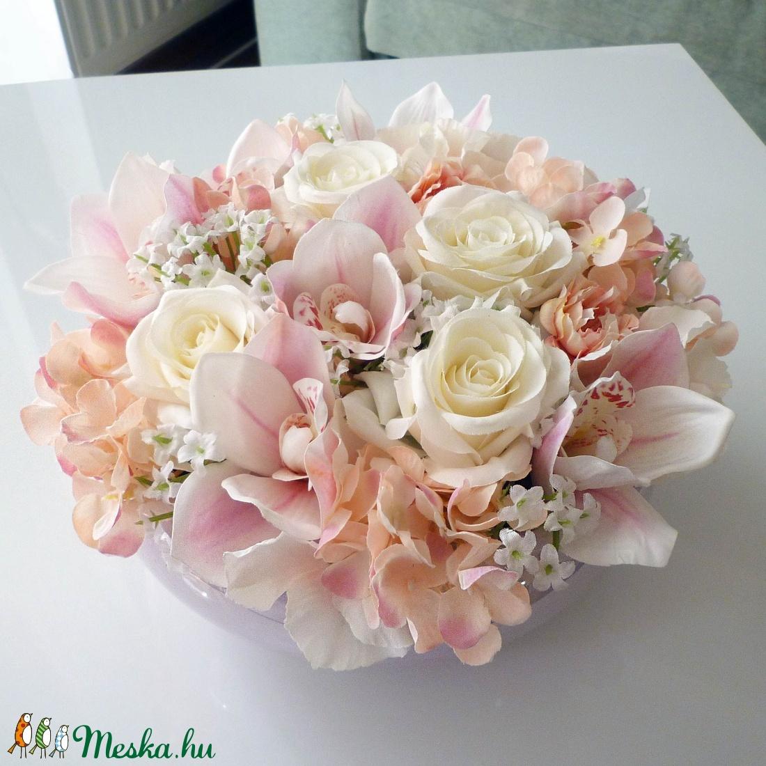 Orchideás asztaldísz (Decoflor) - Meska.hu