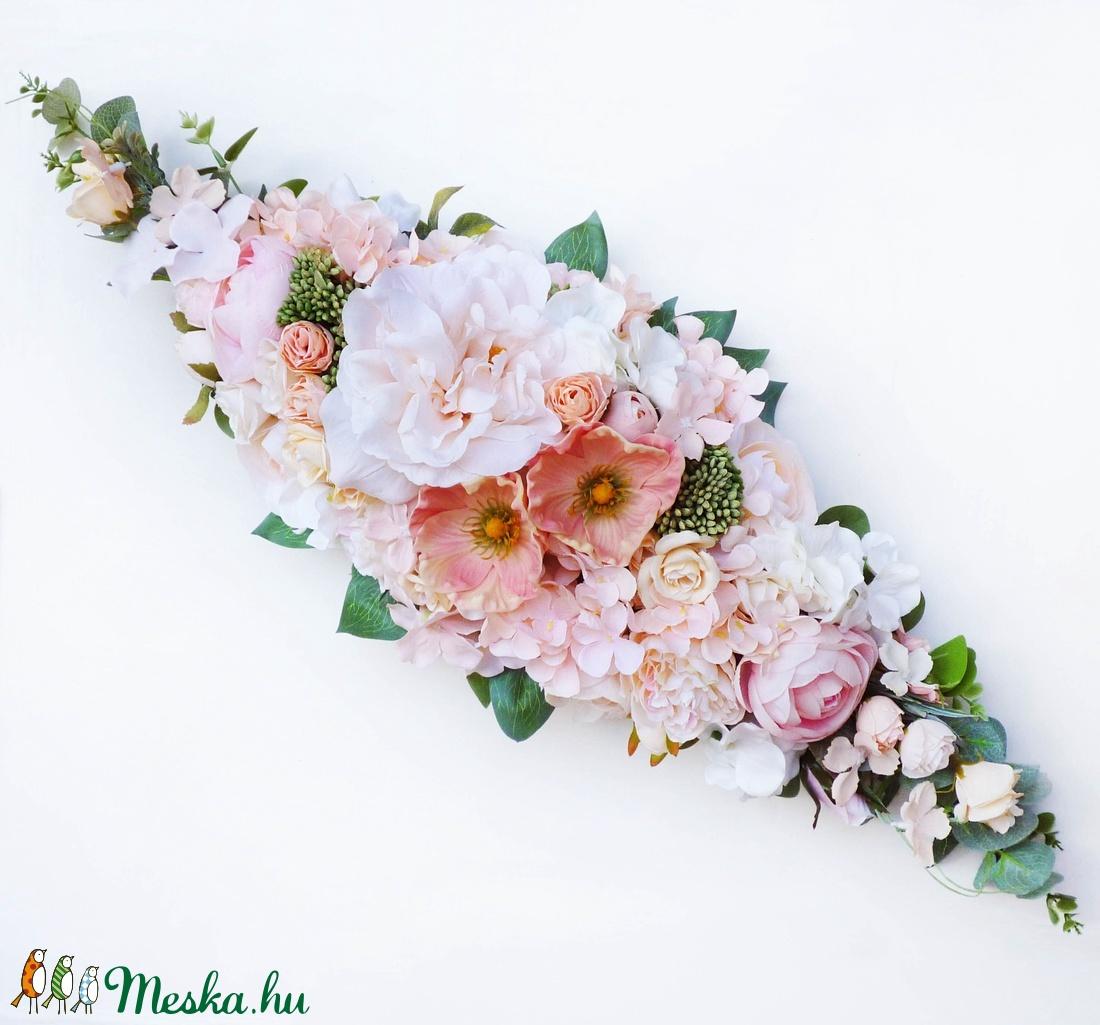 Púder vintage selyemvirág esküvői asztaldísz  - Meska.hu