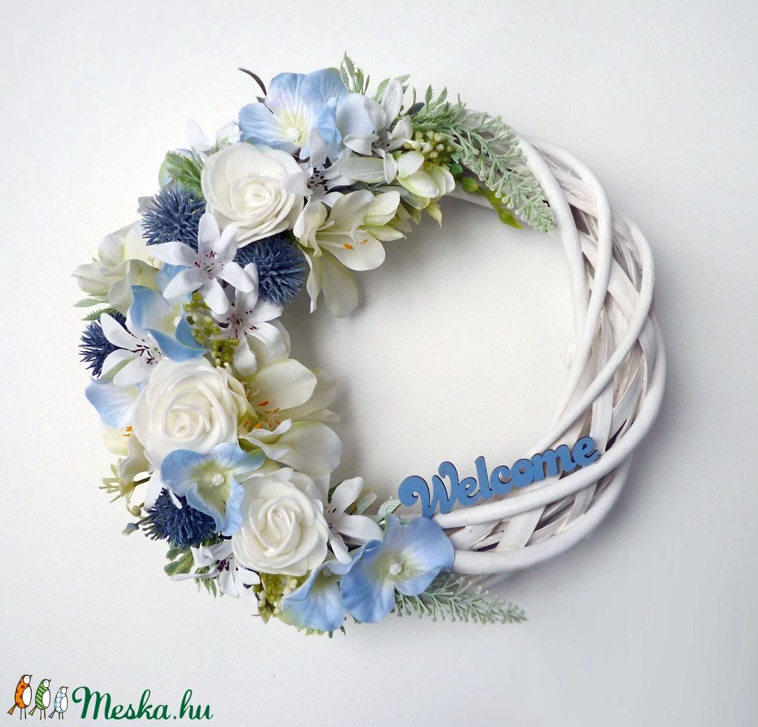 'Welcome' ajtódísz kék hortenziával - otthon & lakás - dekoráció - ajtódísz & kopogtató - Meska.hu