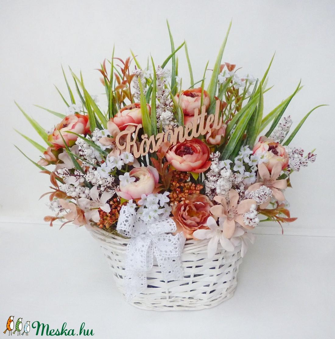 'Köszönettel' virág kosár  - Meska.hu