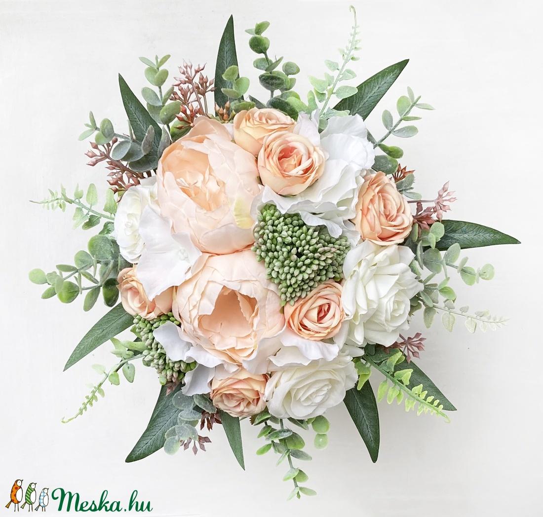 Púder menyasszonyi örök csokor eukaliptusszal - esküvő - menyasszonyi- és dobócsokor - Meska.hu