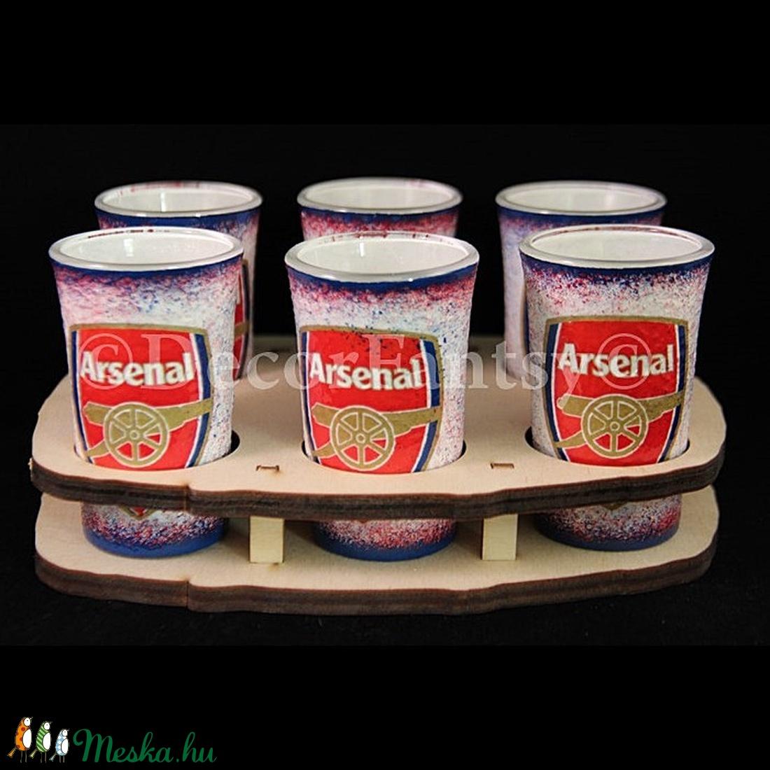 ARSENAL  emblémával díszített   pohár szett ( 6x45ml pohár + tartó )  (decorfantasy) - Meska.hu