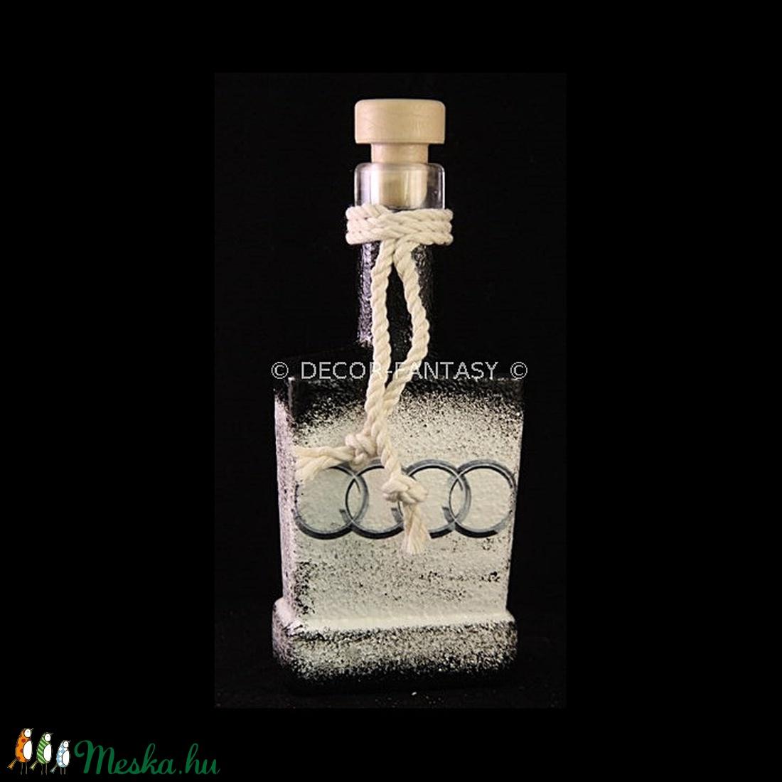AUDI   emblémával díszített  dugós üveg  ( 0,2 l )  (decorfantasy) - Meska.hu