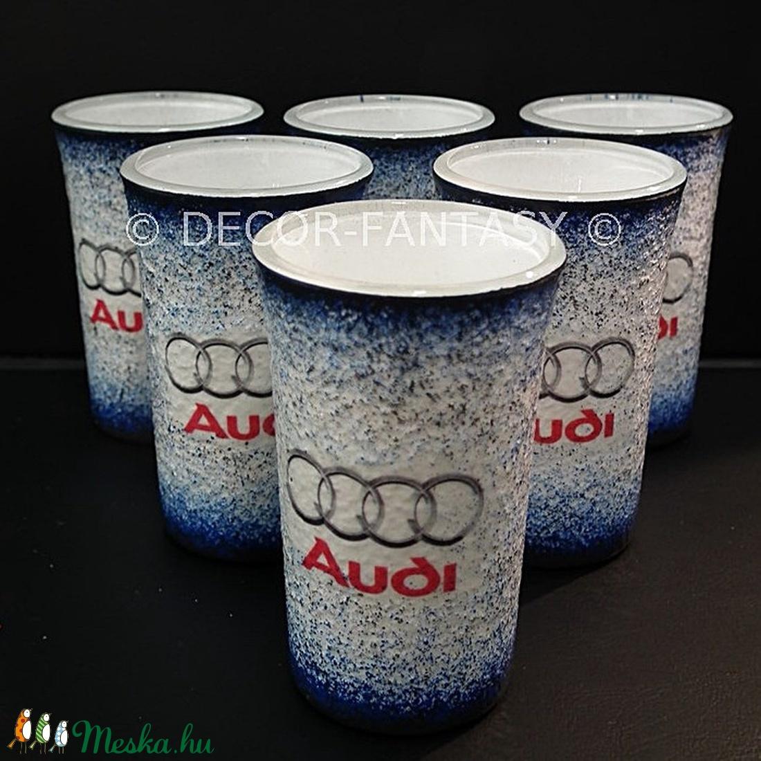 AUDI  emblémával díszített pohár szett ( 6x45ml )  (decorfantasy) - Meska.hu