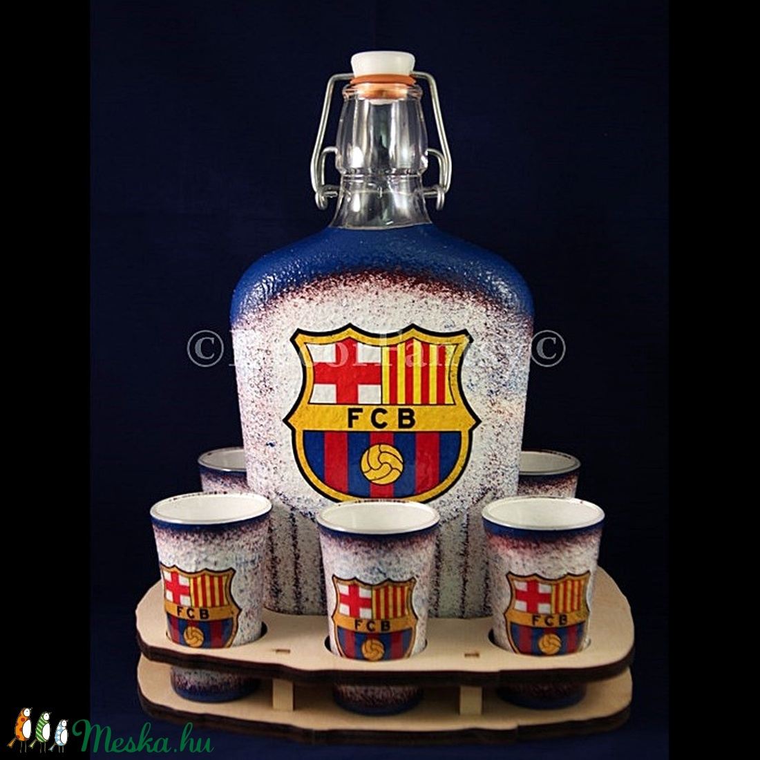 FC Barcelona italos üveg ; futball szurkolóknak leírása (decorfantasy) - Meska.hu