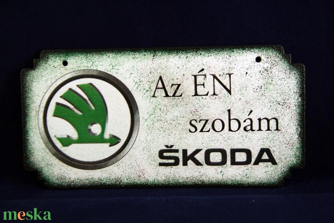 SKODA emblémás -  ÉN SZOBÁM tábla ( 20 x 10 cm )#2 (decorfantasy) - Meska.hu
