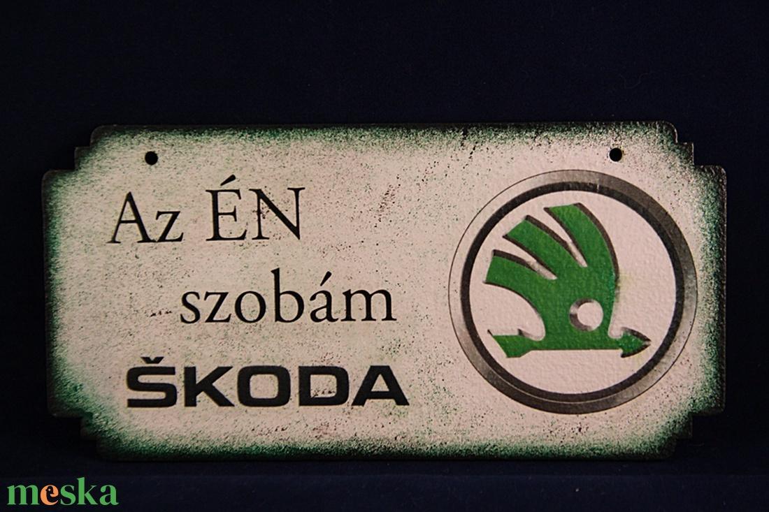 SKODA emblémás -  ÉN SZOBÁM tábla ( 20 x 10 cm ) - Meska.hu