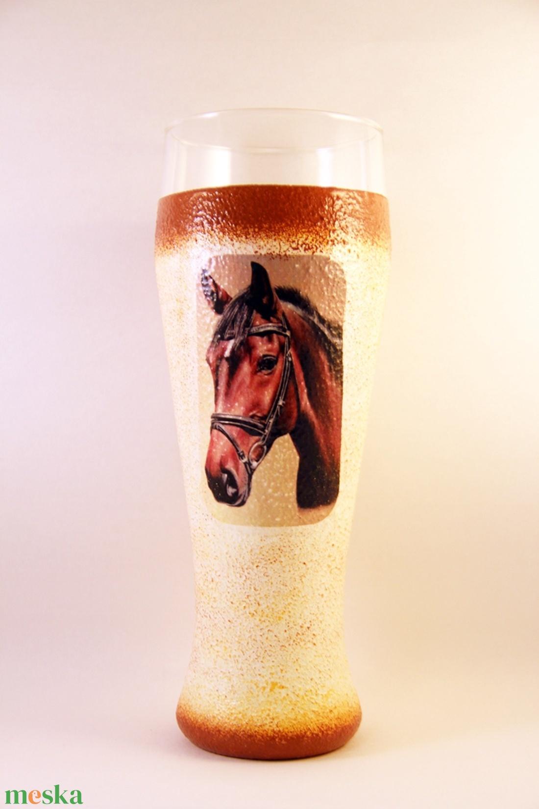 Ló motívummal díszített  sörös pohár / 1. - ( 0,5 L )   - Meska.hu