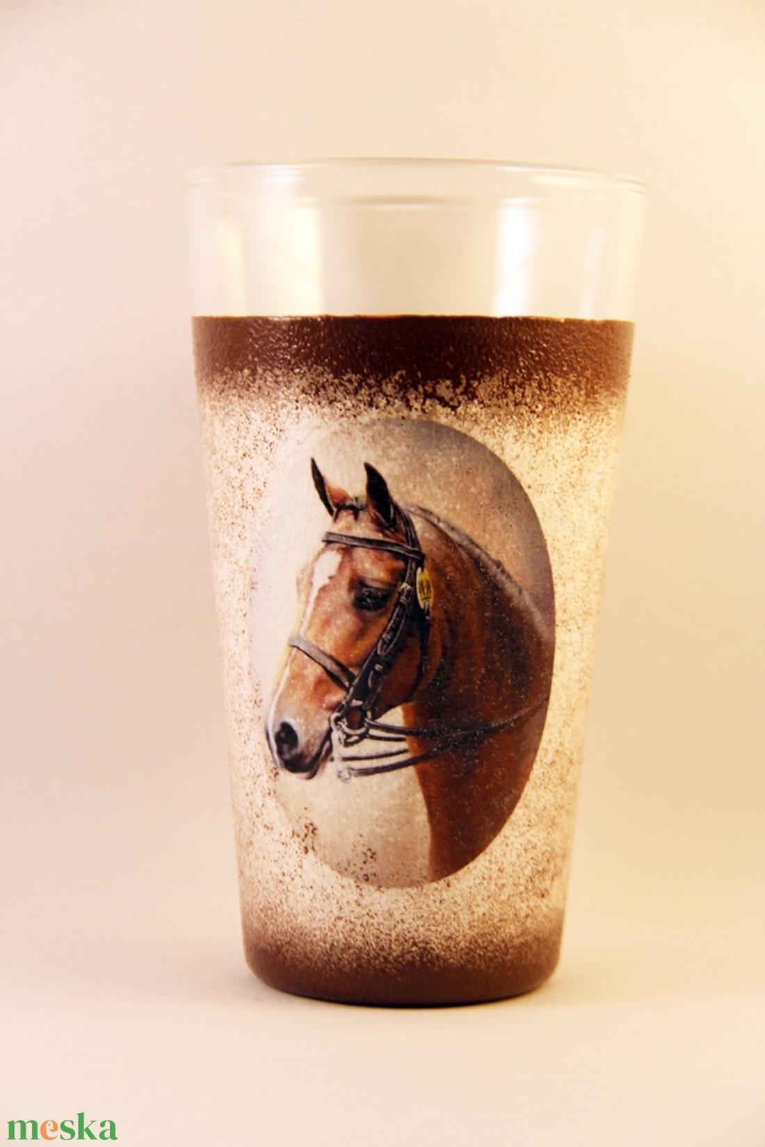 Ló motívummal díszített  vizes pohár / 2. - ( 0,3L )   - Meska.hu