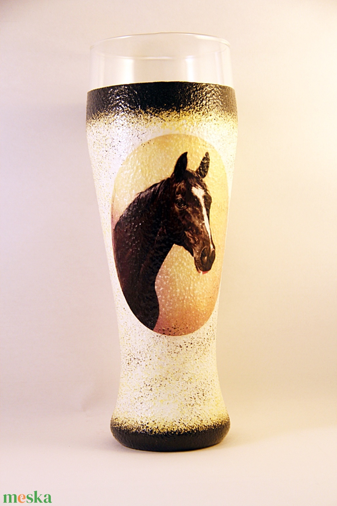 Ló motívummal díszített  sörös pohár / 4. - ( 0,5 L )   - Meska.hu