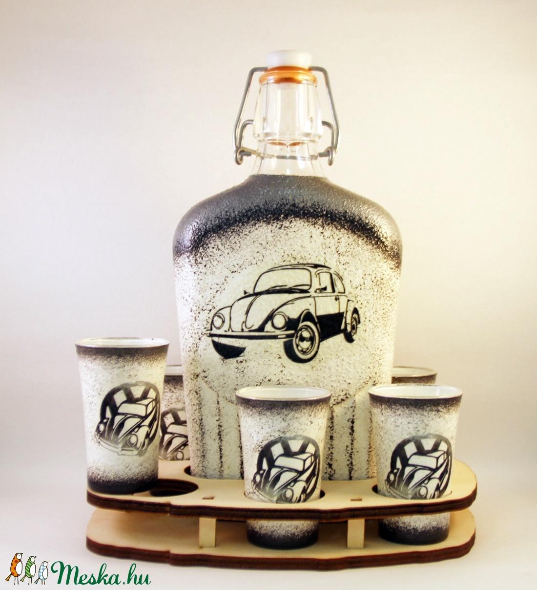 VOLKSWAGEN pálinkás pohárszett - VWBOGÁR ; Saját Volkswagen autód fényképével is! (decorfantasy) - Meska.hu