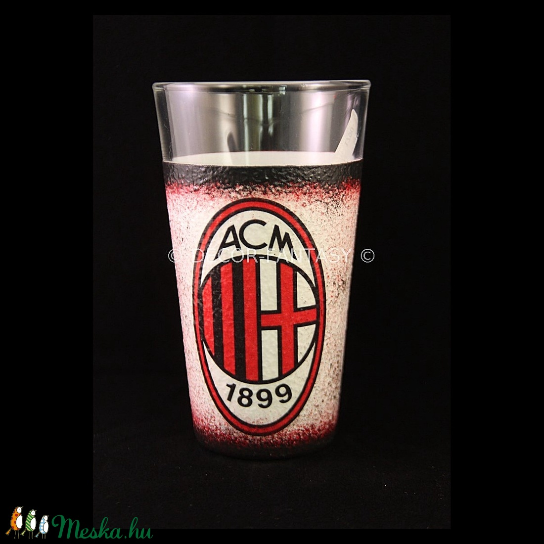 AC MILAN  emblémával díszített vizes pohár ( 0,3 l )  (decorfantasy) - Meska.hu