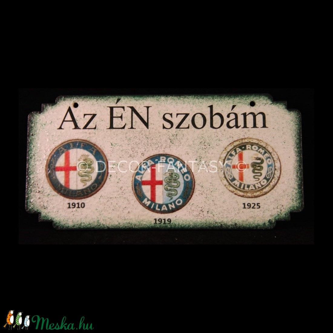 ALFA-ROMEO  emblémával díszített fatábla ajtóra -ÉN SZOBÁM (decorfantasy) - Meska.hu