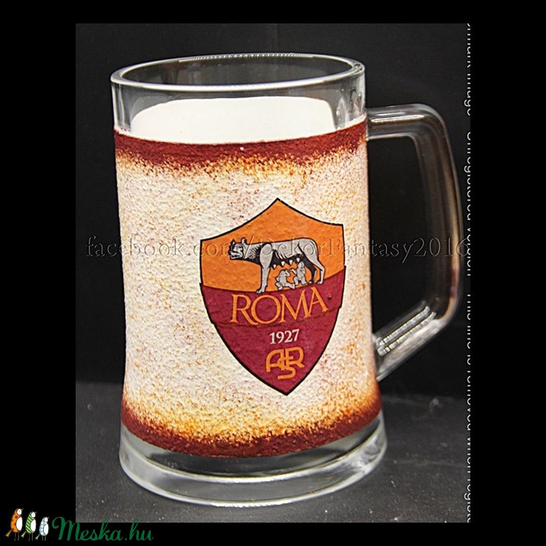 AS ROMA  emblémával díszített  sörös korsó ( 0,5 l )  (decorfantasy) - Meska.hu