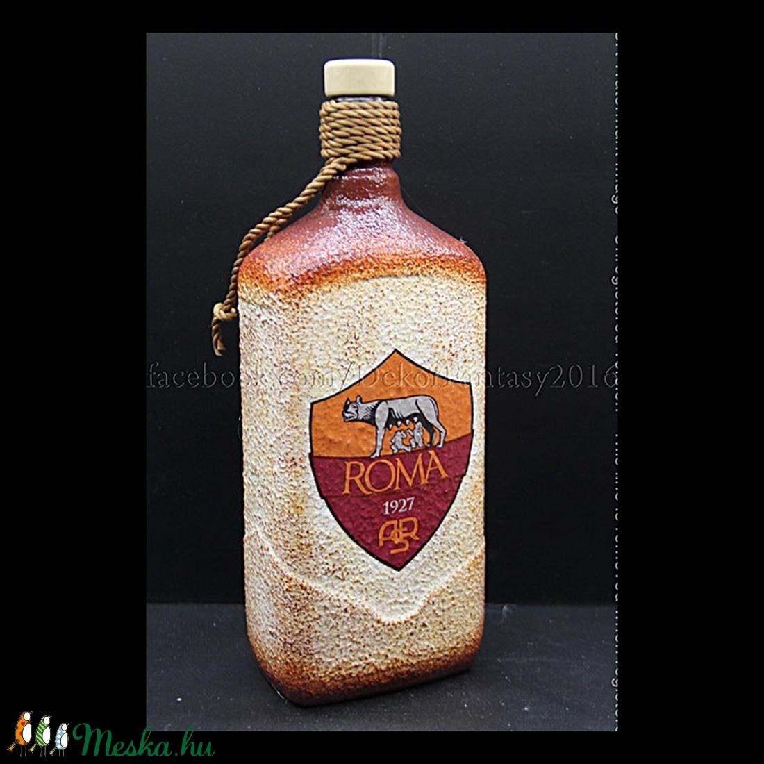 AS ROMA  emblémával díszített üveg ( 1,0 l ) (decorfantasy) - Meska.hu