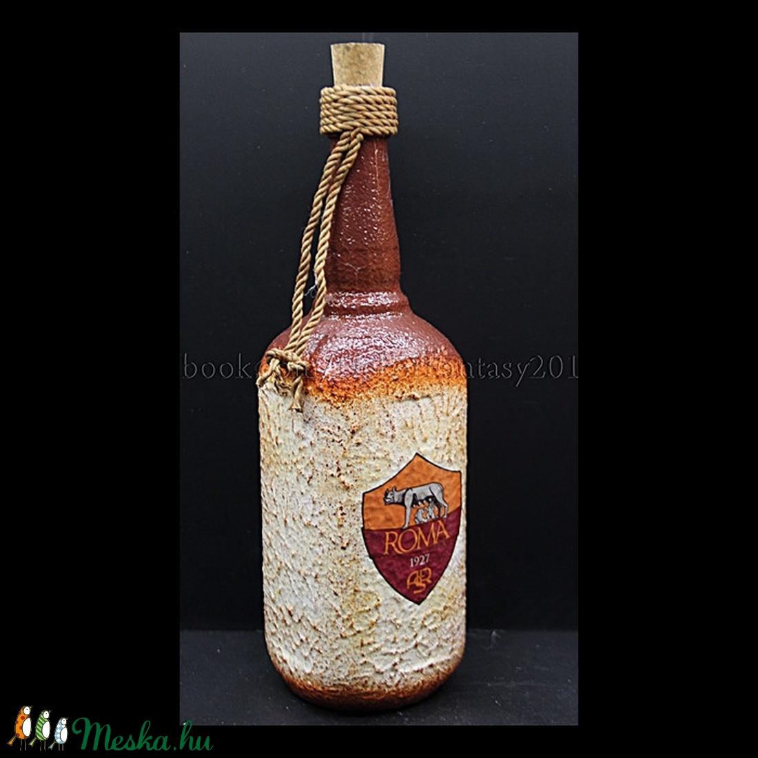 AS ROMA  emblémával díszített üveg ( 0,75 l ) (decorfantasy) - Meska.hu
