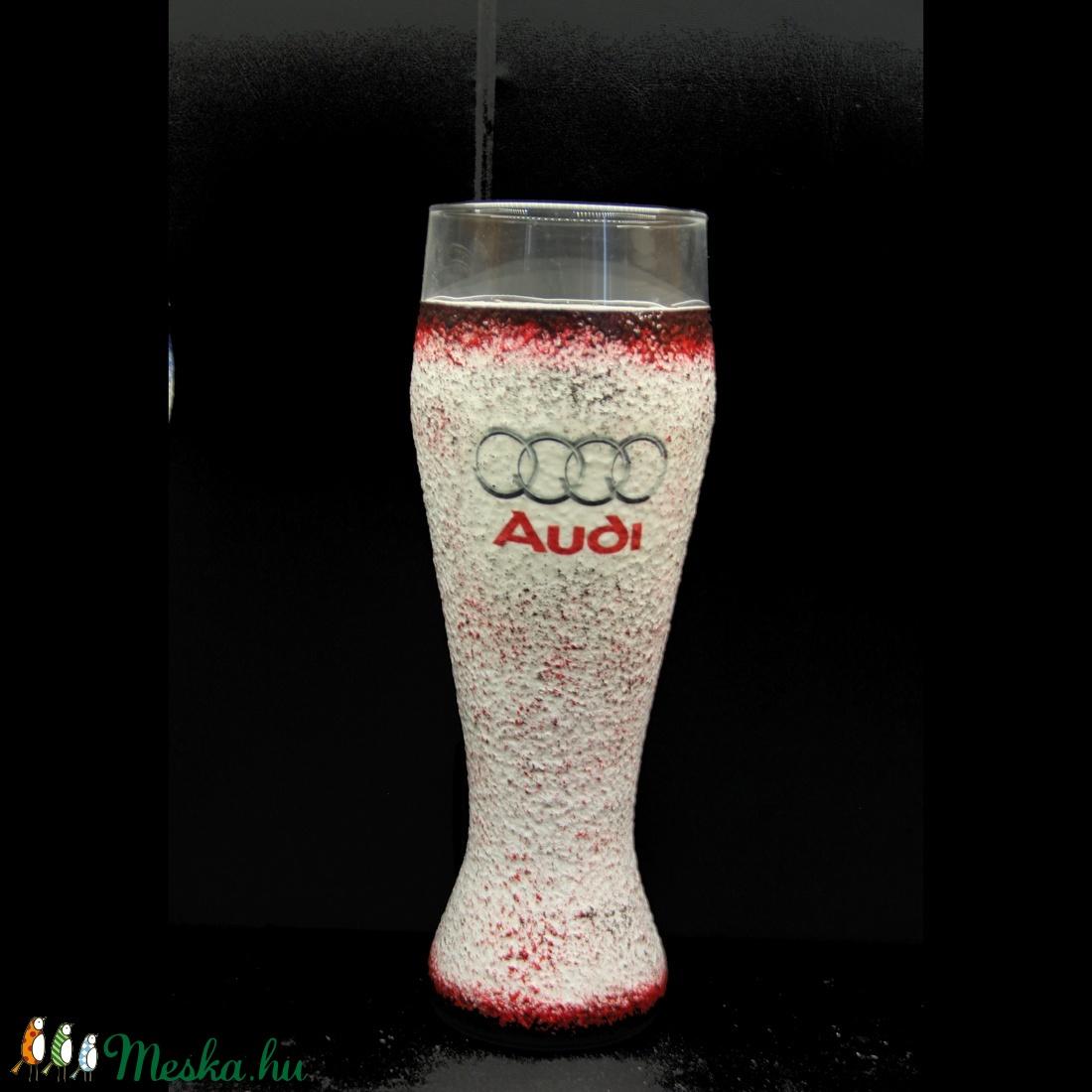 AUDI  emblémával díszített sörös pohár ( 0,5 l )  (decorfantasy) - Meska.hu