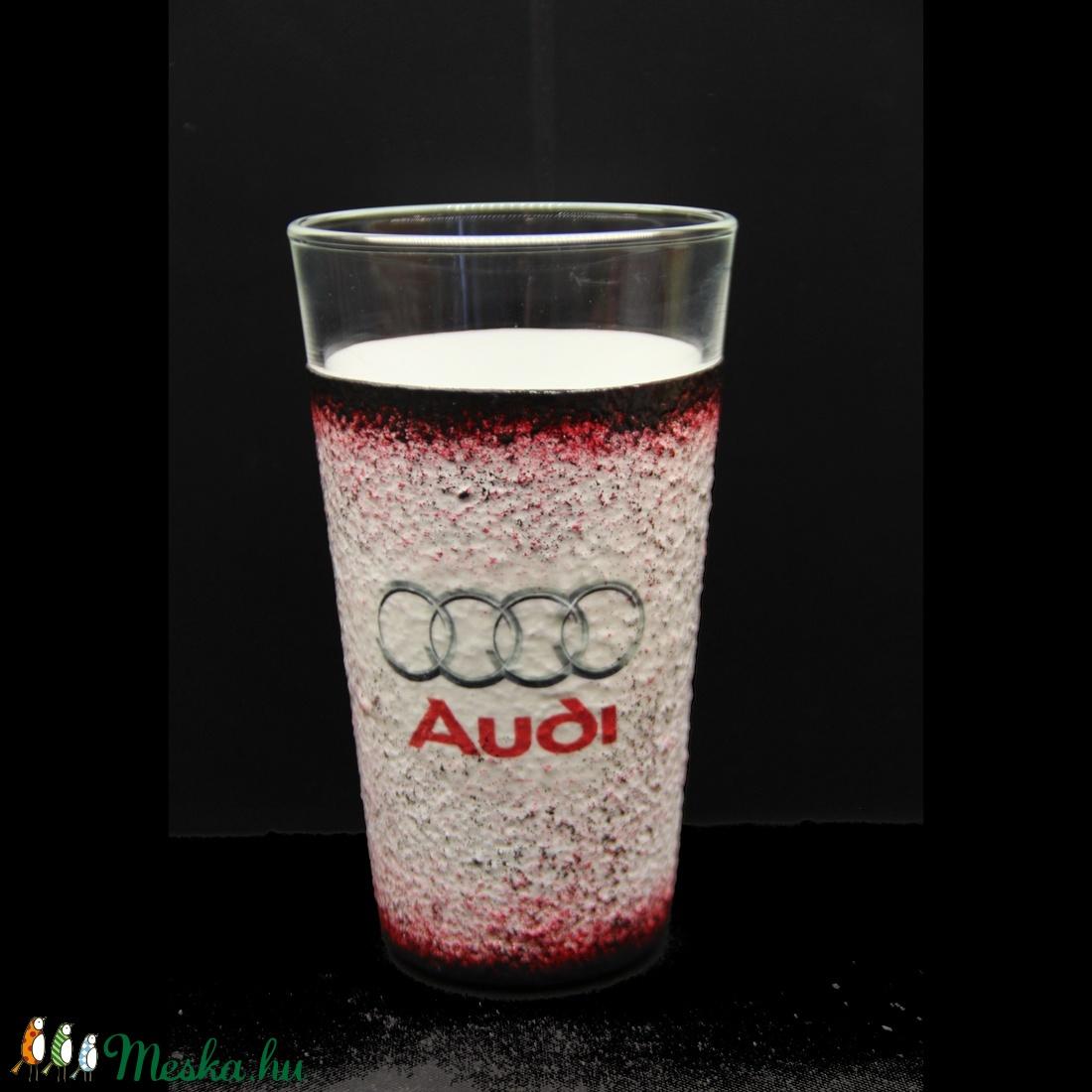 AUDI  emblémával díszített vizes pohár ( 0,3 l )  (decorfantasy) - Meska.hu
