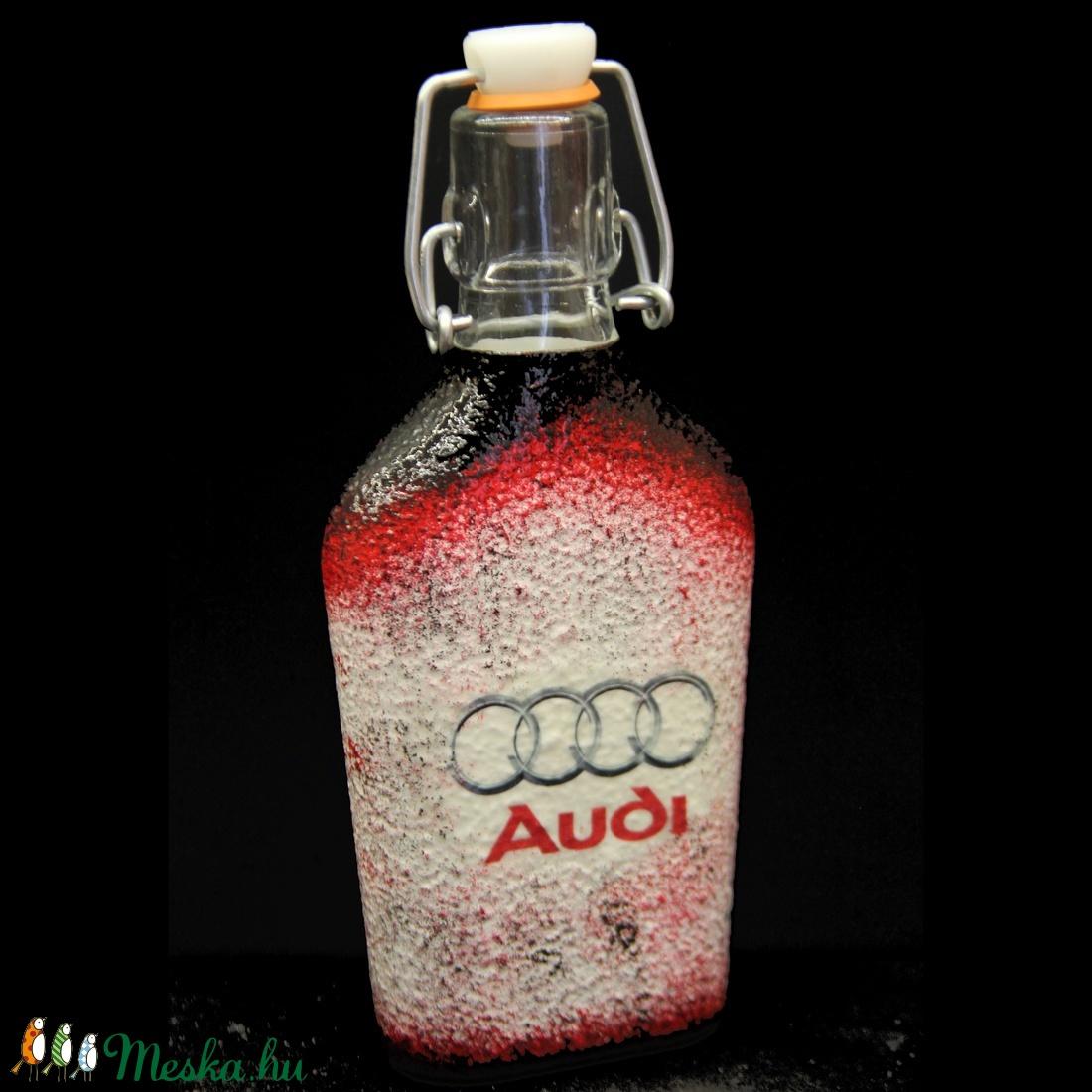 AUDI  emblémával díszített kis csatos pálinkás üveg ( 0,2 l )  (decorfantasy) - Meska.hu