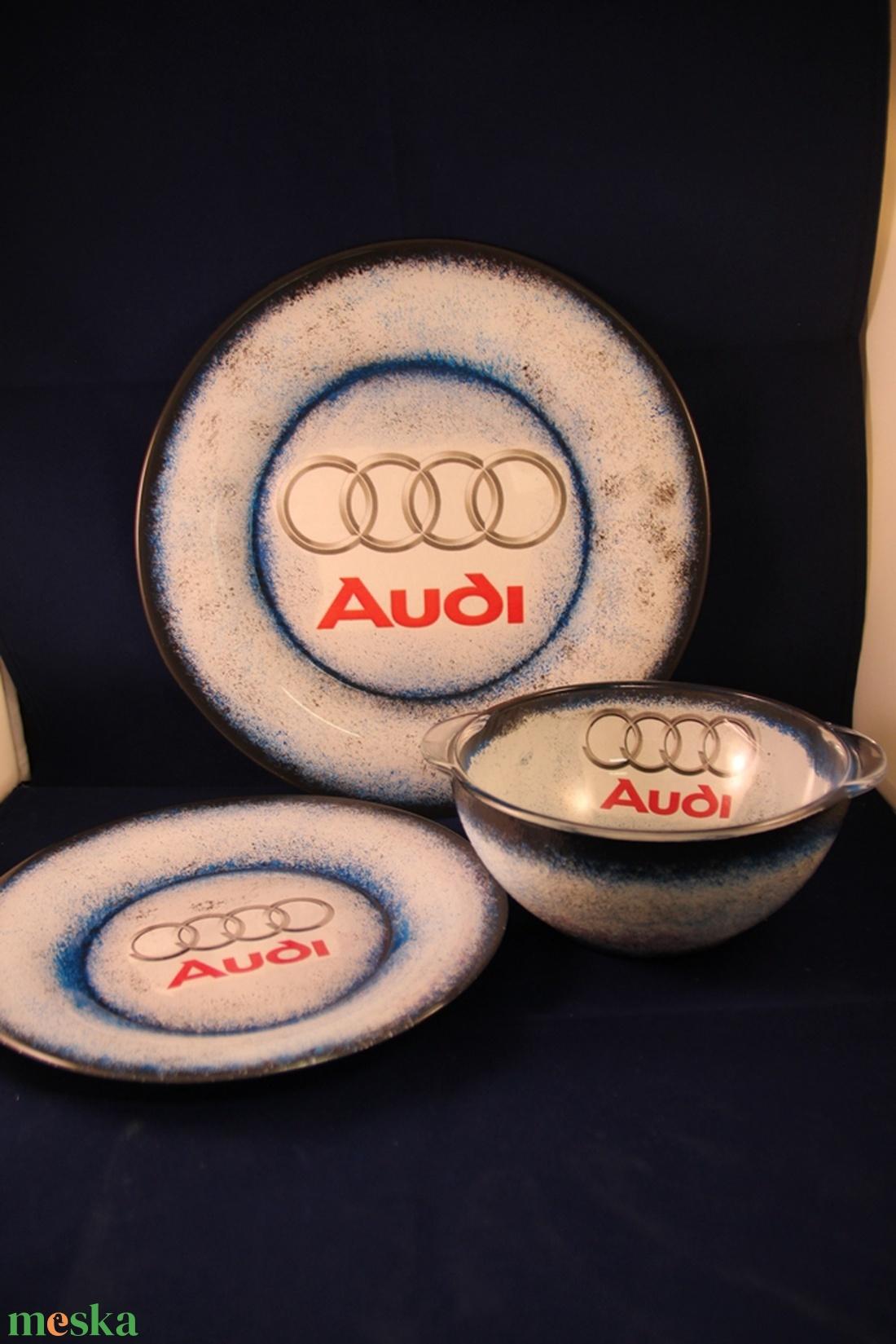 AUDI  emblémával díszített tányér készlet ; Audi rajongó autósoknak - otthon & lakás - konyhafelszerelés - tányér & étkészlet - Meska.hu