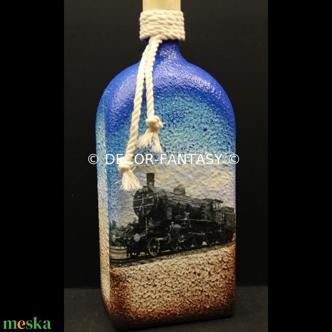 MOZDONY ( GŐZMOZDONY )  motívummal díszített üveg ( 1,0 L )  (decorfantasy) - Meska.hu
