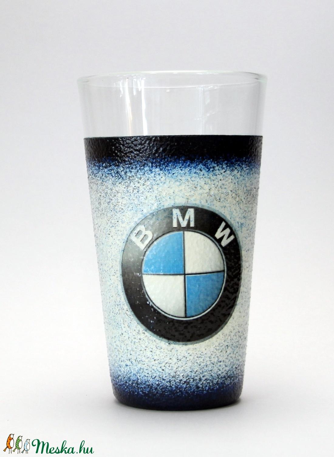 BMW emblémával díszített vizes pohár ( 0,3l ) - ideális ajándék a márka szerelmeseinek - férjeknek -barátoknak  (decorfantasy) - Meska.hu