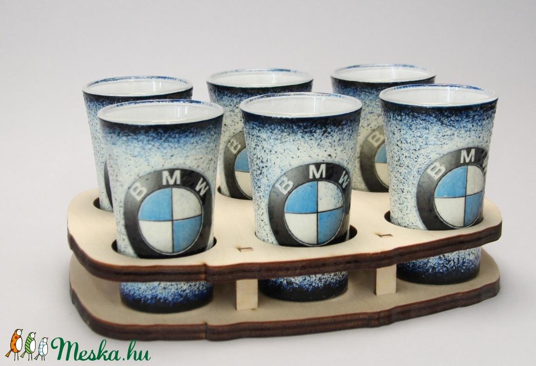 BMW emblémával díszített pohár szett (6x45ml)a márka szerelmeseinek - férjeknek -barátoknak  (decorfantasy) - Meska.hu