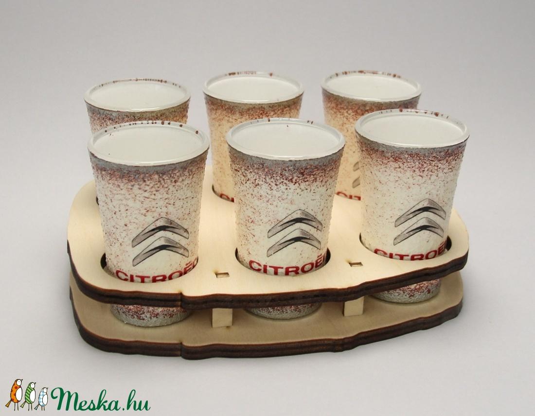 Citroen emblémával díszített pohár szett(6x45ml+tartó)ideális ajándék a márka szerelmeseinek - férjeknek -barátoknak  (decorfantasy) - Meska.hu