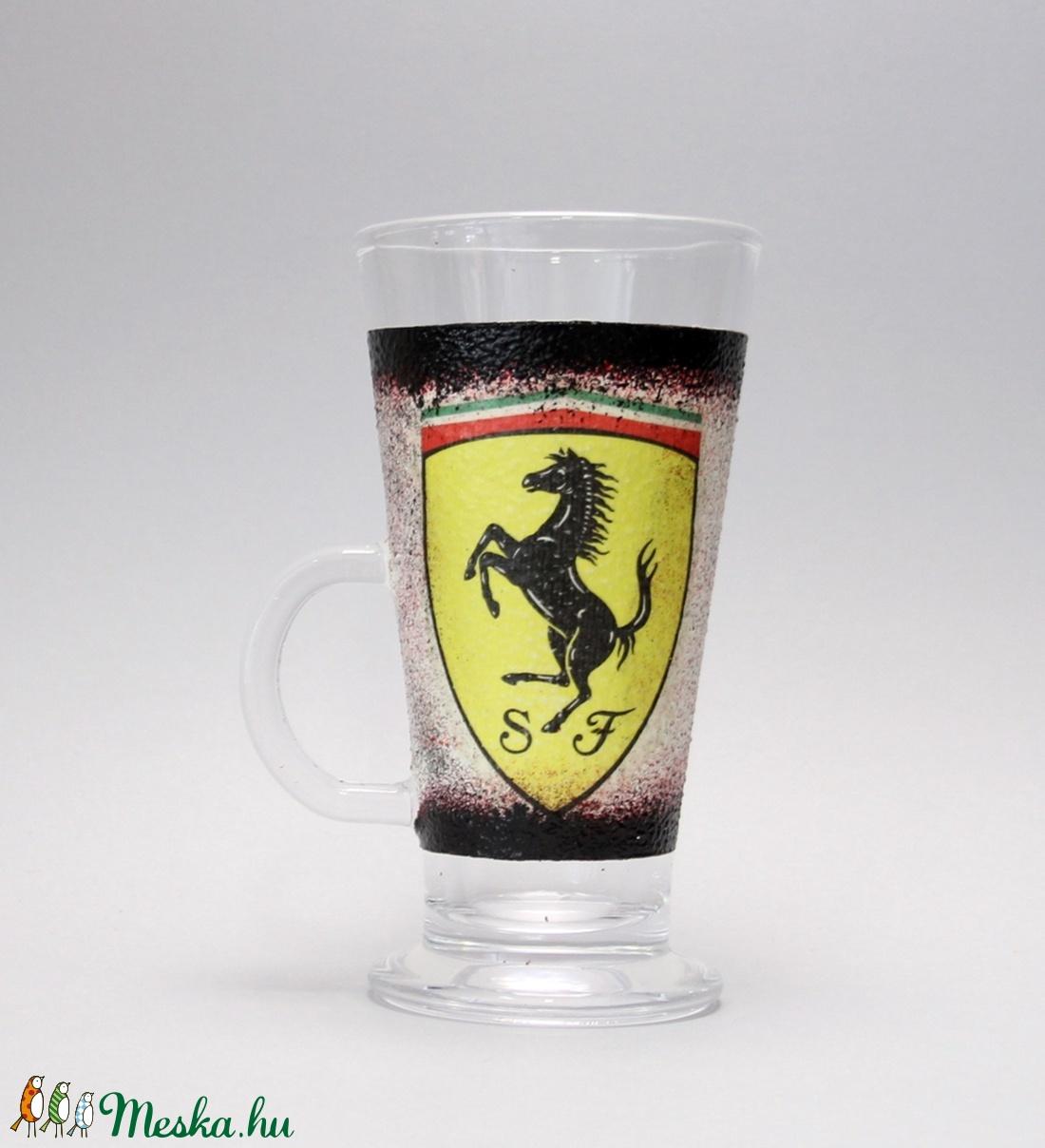FERRARI  emblémás  lattes pohár ( 0,25 l )ideális ajándék - férjeknek - barátoknak   (decorfantasy) - Meska.hu