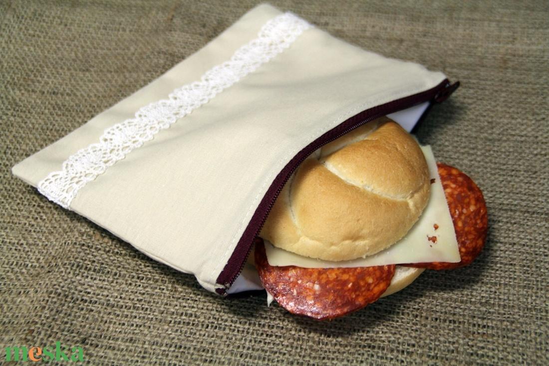 Natúr szendvicstartó,nasitasi (20x14cm)-ÖKO környezetbarát anyagból óvodásoknak,iskolásoknak,-INGYENES SZÁLLÍTÁSSAL - ovi- és sulikezdés - uzsonna- & ebéd tartó - szendvics csomagoló - Meska.hu