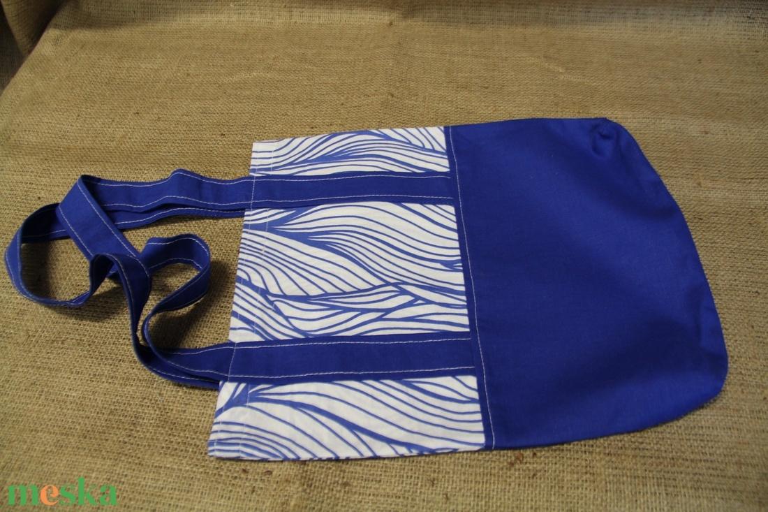 Kék-fehér bevásárló táska, ( 29x34cm)-ÖKO környezetbarát anyagból háziasszonyoknak,-INGYENES SZÁLLÍTÁSSAL - Meska.hu