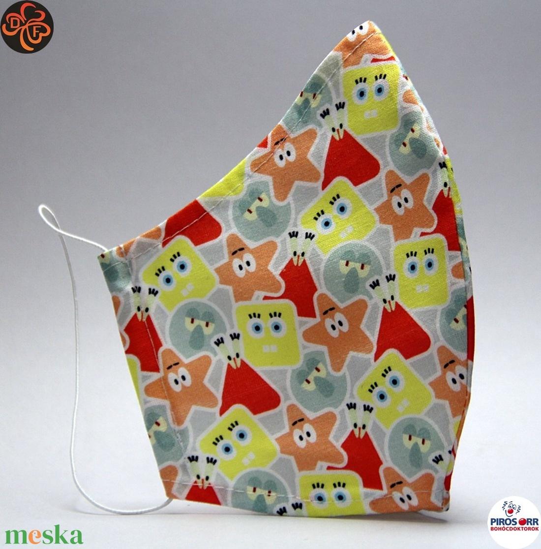 EGYEDI SPONGYABOB  SZÁJMASZK -Textil szájmaszk-Egészségügyi szájmaszk -Felnőtteknek (női és férfi méret) ,gyerekeknek  - Meska.hu