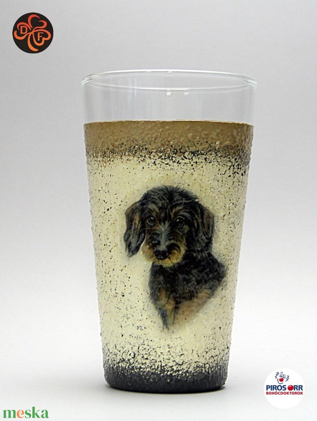 Kutya motívummal ( TACSKÓ ) díszített vizes pohár ; Házi kedvenc rajongóknak ;Egyedi állat fotóval is ! (decorfantasy) - Meska.hu