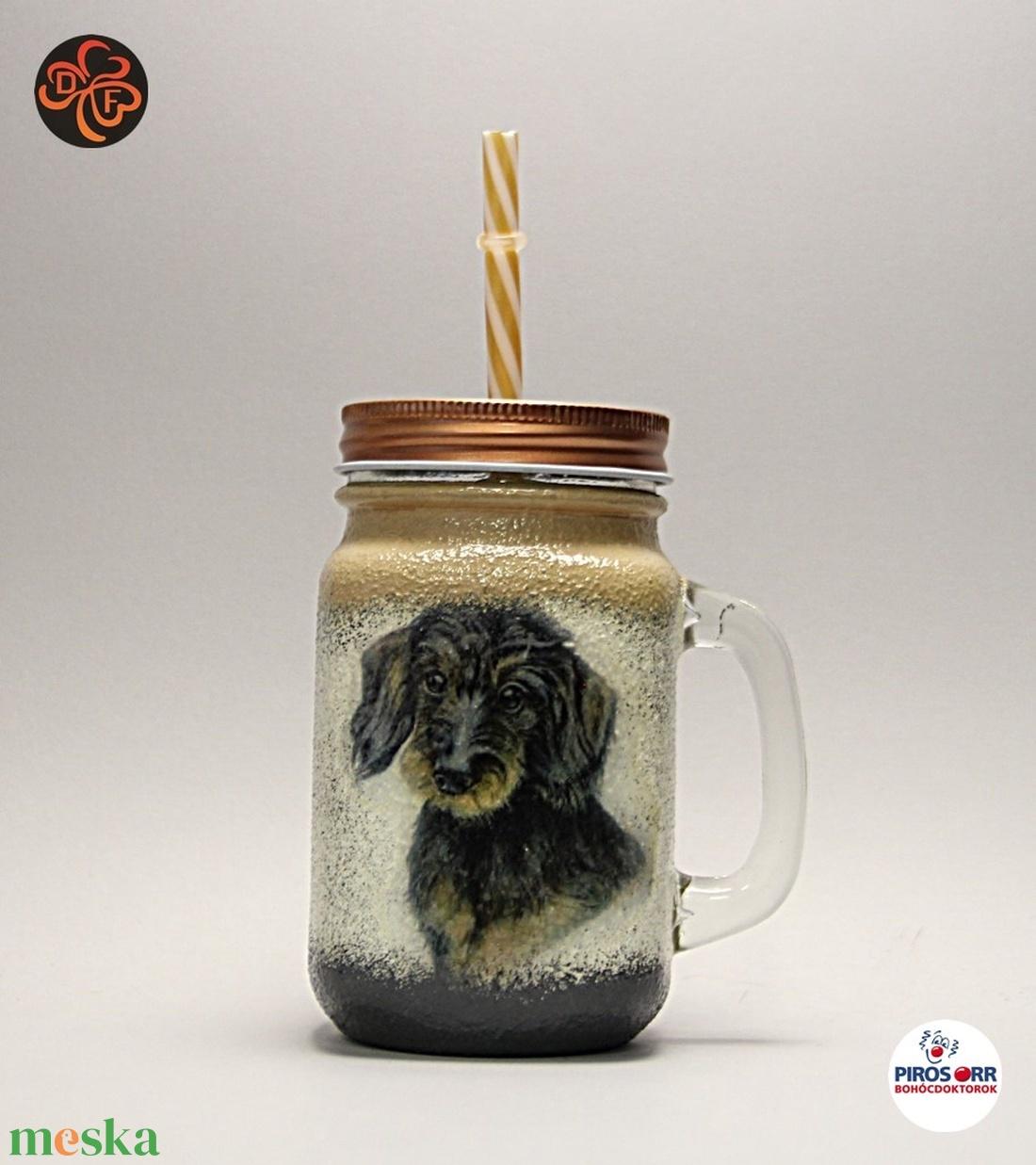 Kutya motívummal ( TACSKÓ ) díszített szívószálas bögre ( 0,3 L )  ; Házi kedvenc rajongóknak ;Egyedi állat fotóval is ! - Meska.hu