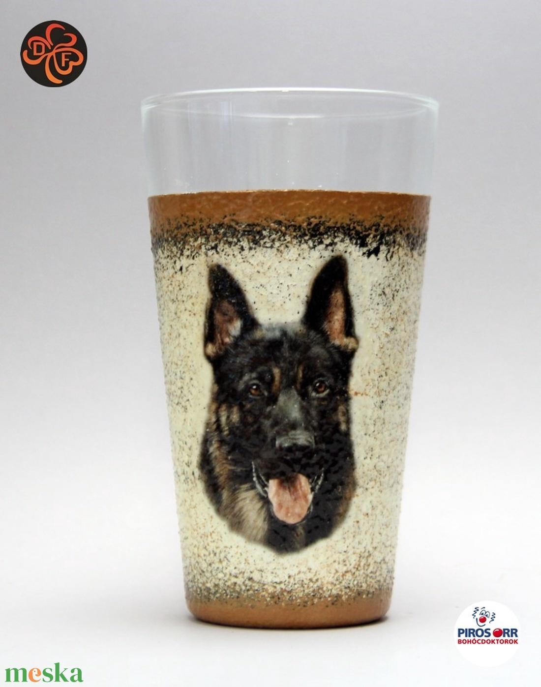 Kutya motívummal ( németjuhász)  vizes pohár ; Házi kedvenc rajongóknak ;Egyedi állat fotóval is ! - Meska.hu