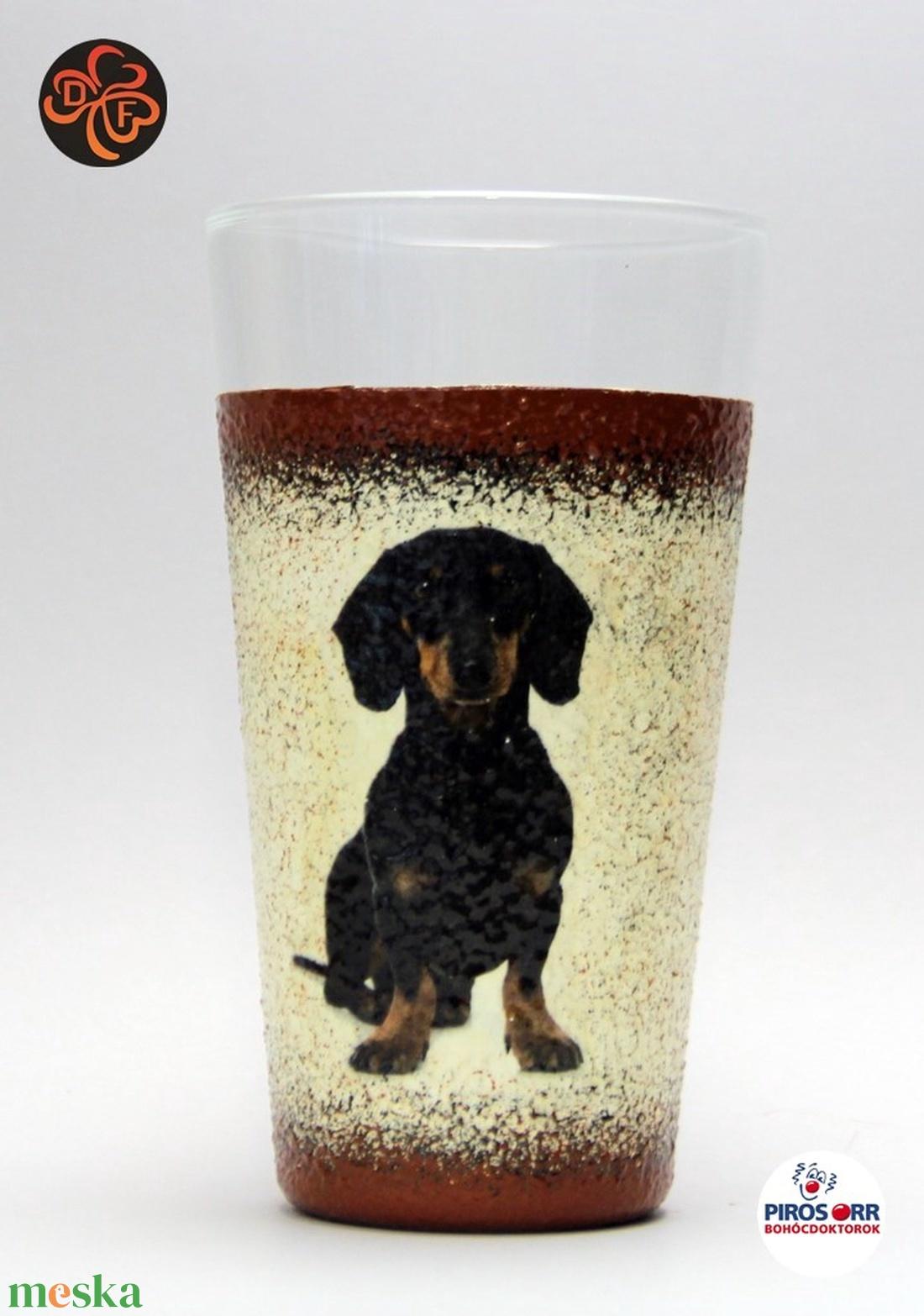 Kutya motívummal ( tacskó) vizes pohár ; Házi kedvenc rajongóknak ;Egyedi állat fotóval is ! - Meska.hu
