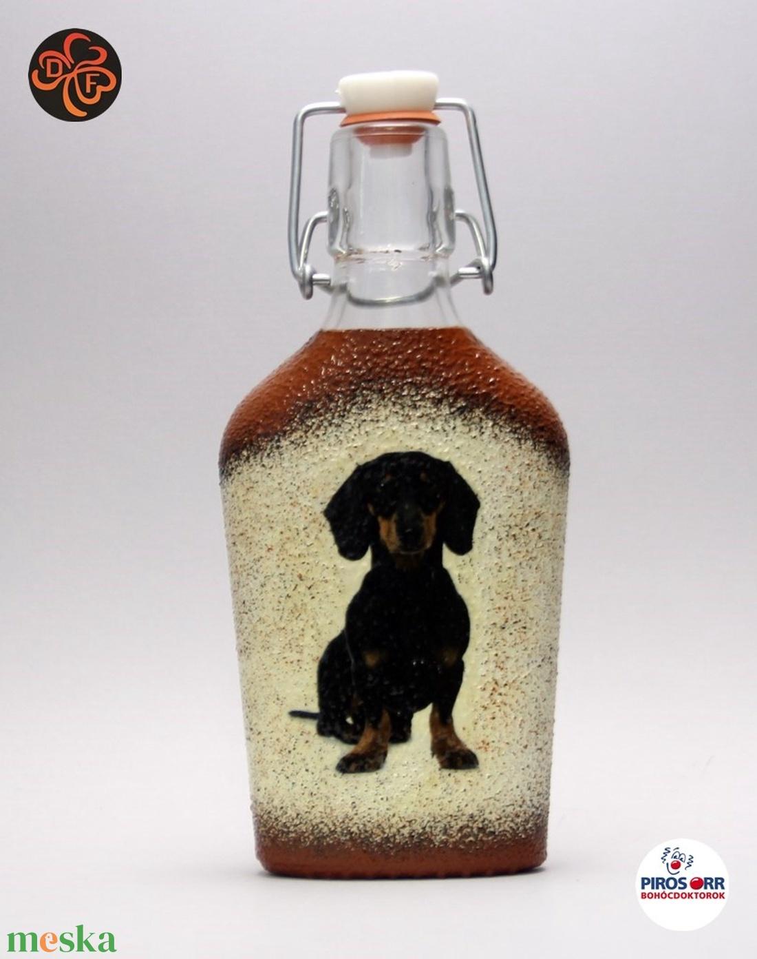 Kutya motívummal ( tacskó) pálinkás üveg ; Házi kedvenc rajongóknak ;Egyedi állat fotóval is ! - Meska.hu