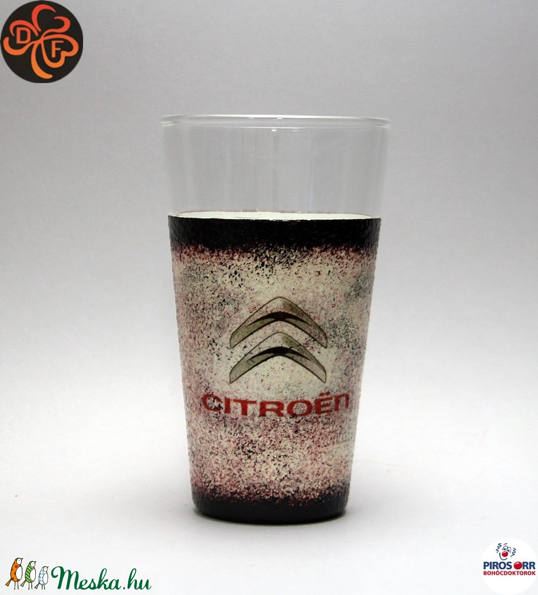 CITROEN emblémával díszített  vizes pohár ; A márka rajongóinak  ; A saját autód fotójával is elkészítjük ! - Meska.hu