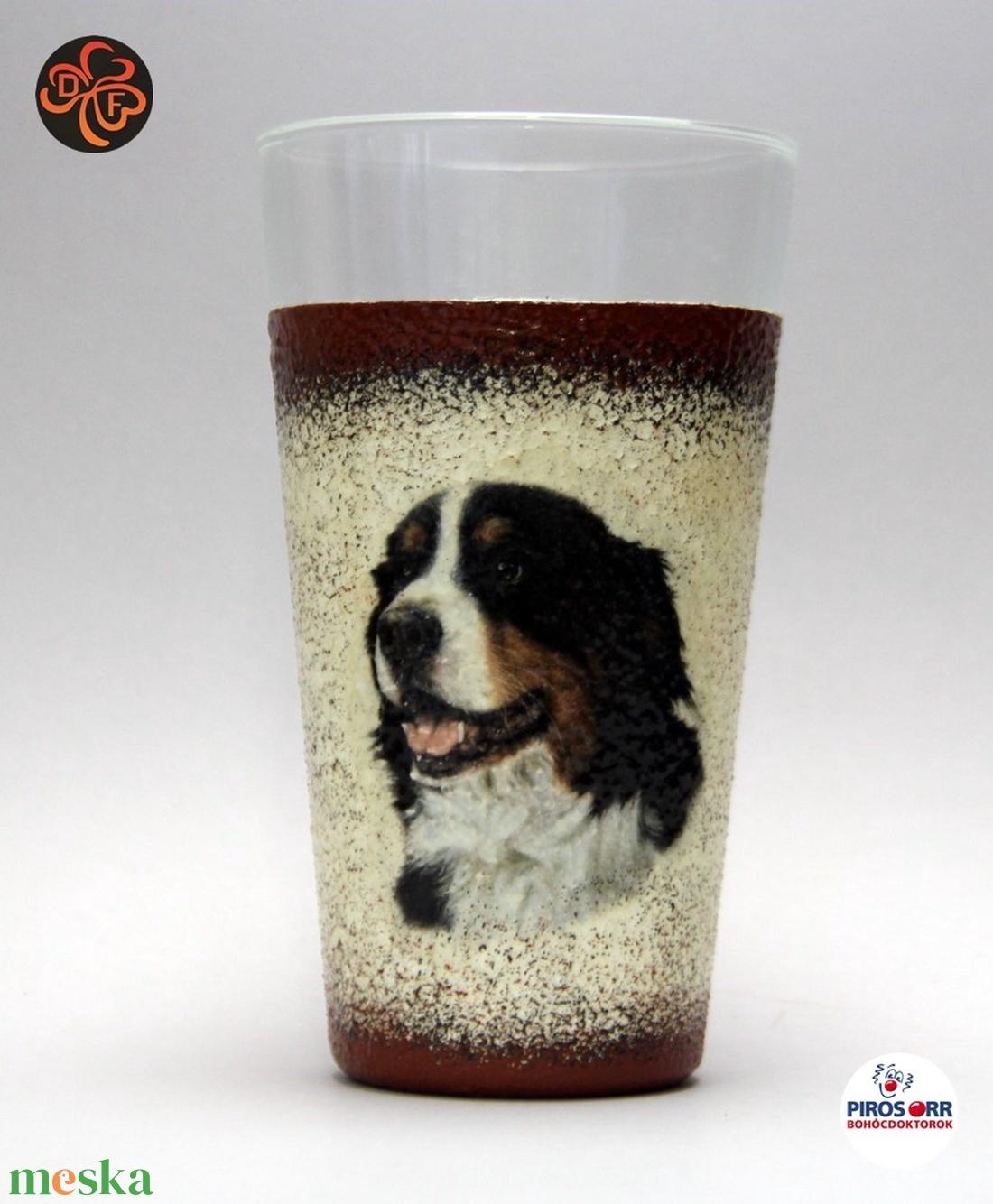 Kutya motívummal ( berni pásztor) vizes pohár ; Házi kedvenc rajongóknak ;Egyedi állat fotóval is ! (decorfantasy) - Meska.hu