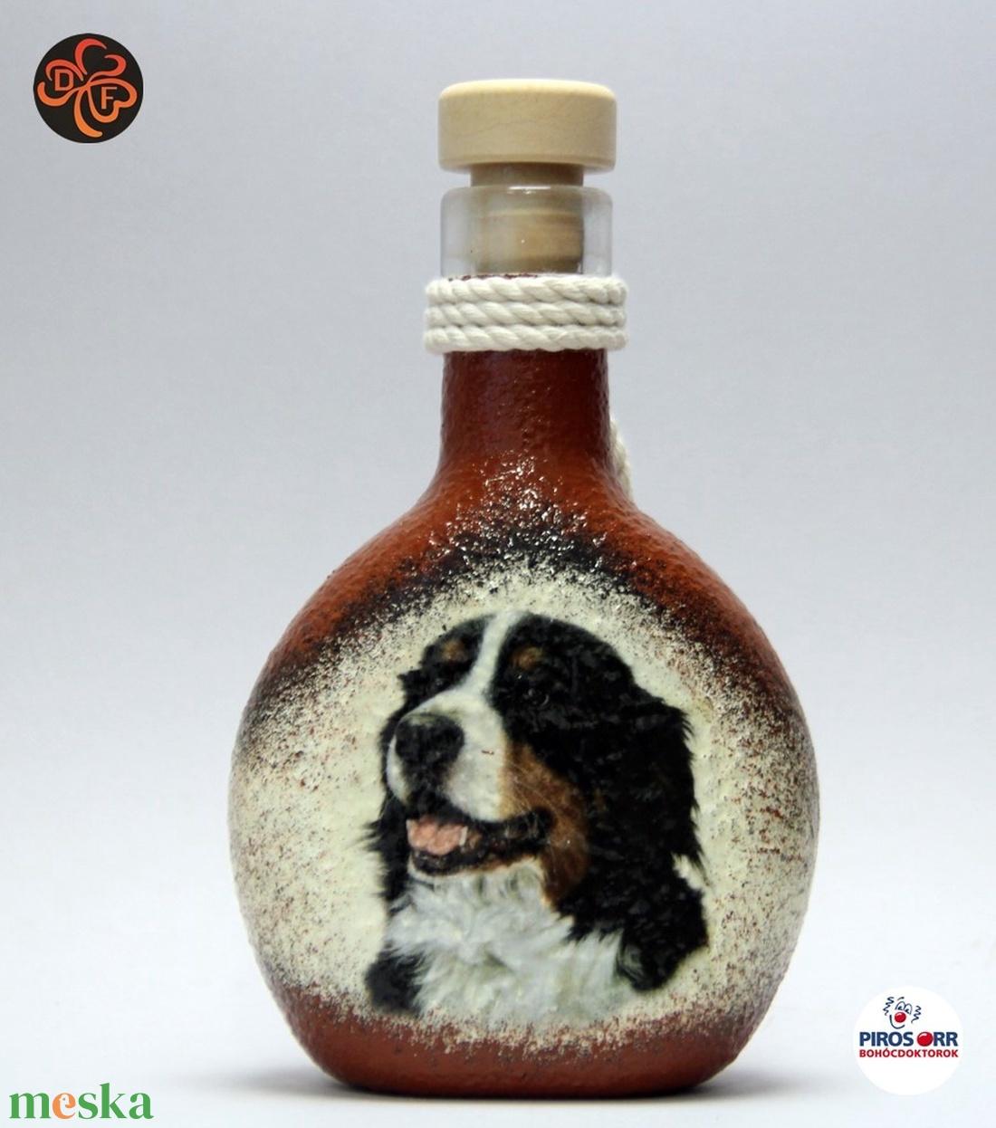 Kutya motívummal ( berni pásztor)  pálinkás üveg ; Házi kedvenc rajongóknak ;Egyedi állat fotóval is ! - Meska.hu