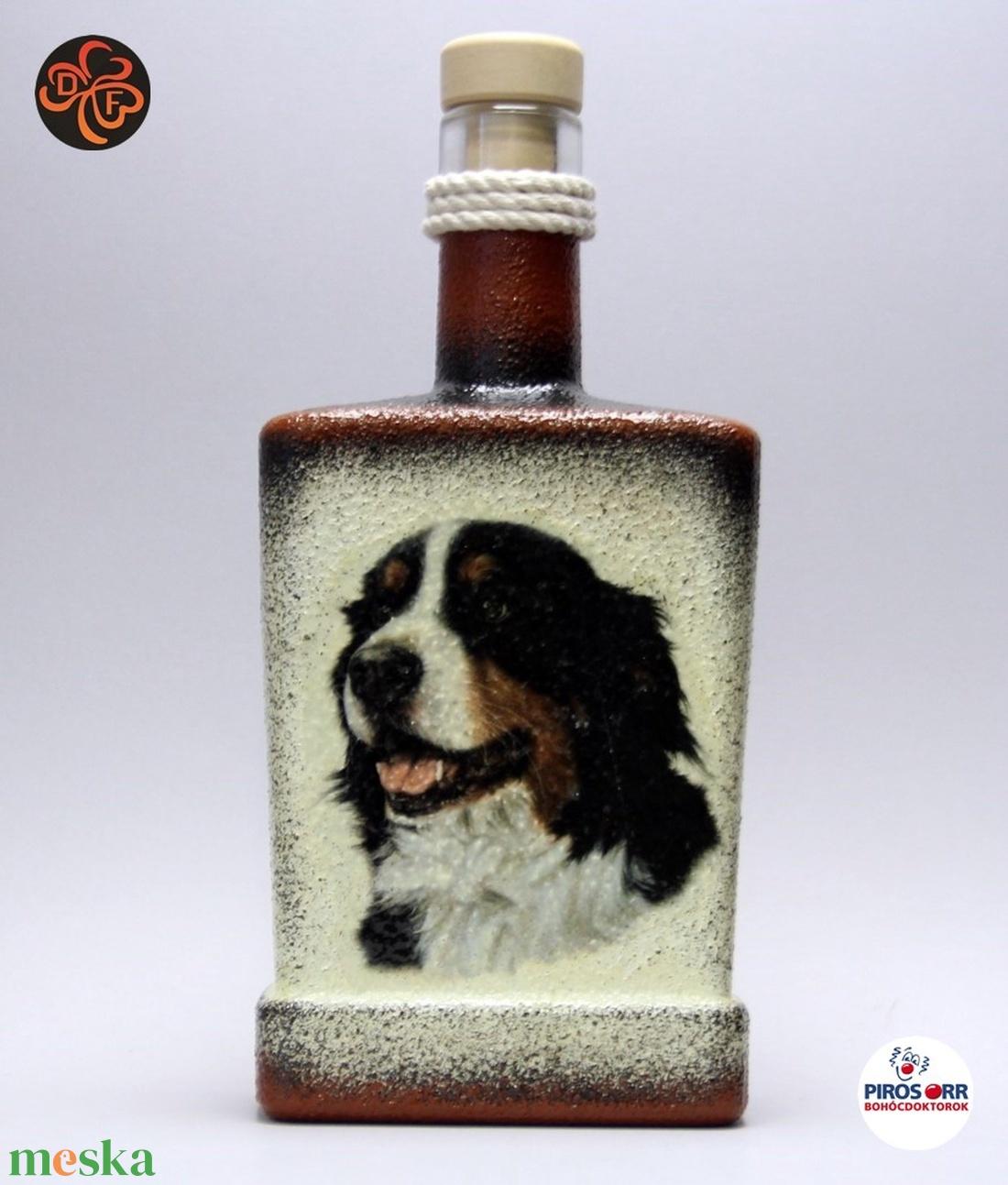 Kutya motívummal ( berni pásztor) díszített pálinkás üveg  ; Házi kedvenc rajongóknak ;Egyedi állat fotóval is ! - Meska.hu