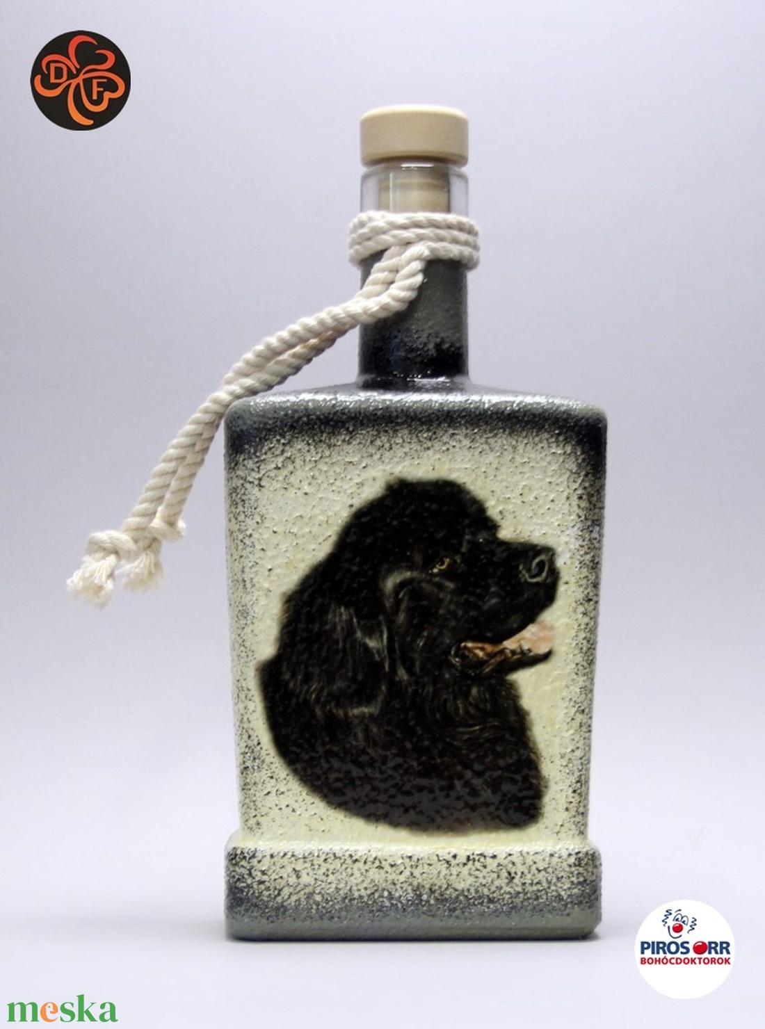 Kutya motívummal ( újfundlandi) díszített pálinkás üveg  ; Házi kedvenc rajongóknak ;Egyedi állat fotóval is ! (decorfantasy) - Meska.hu
