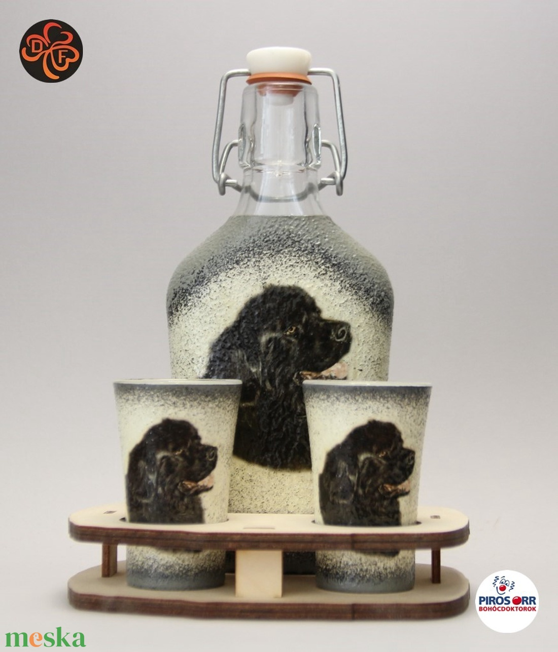 Kutya motívummal ( újfundlandi) díszített kis pálinkás szett ; Házi kedvenc rajongóknak ;Egyedi állat fotóval is ! - Meska.hu