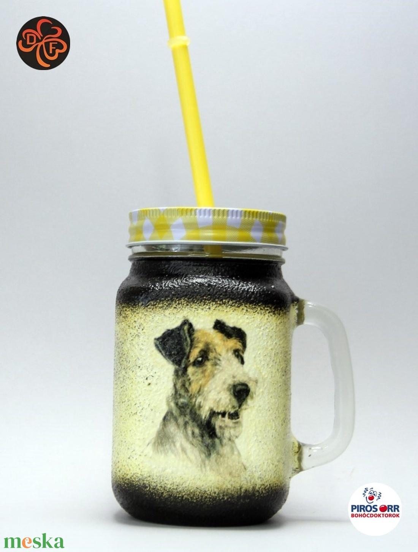Kutya motívummal ( foxi) szívószálas pohár ; Házi kedvenc rajongóknak ;Egyedi állat fotóval is ! (decorfantasy) - Meska.hu