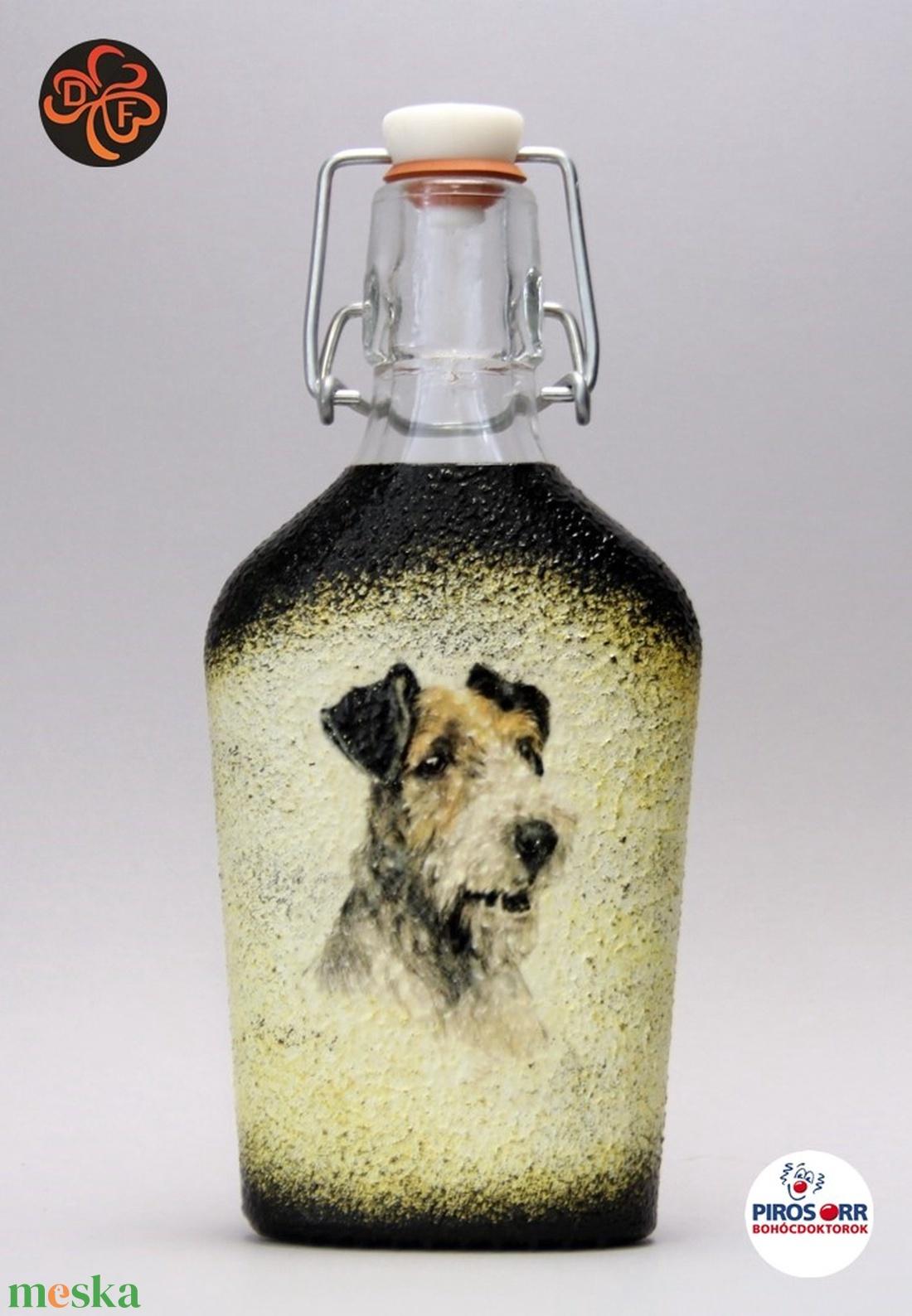 Kutya motívummal ( foxii )  pálinkás üveg ; Házi kedvenc rajongóknak ;Egyedi állat fotóval is ! (decorfantasy) - Meska.hu