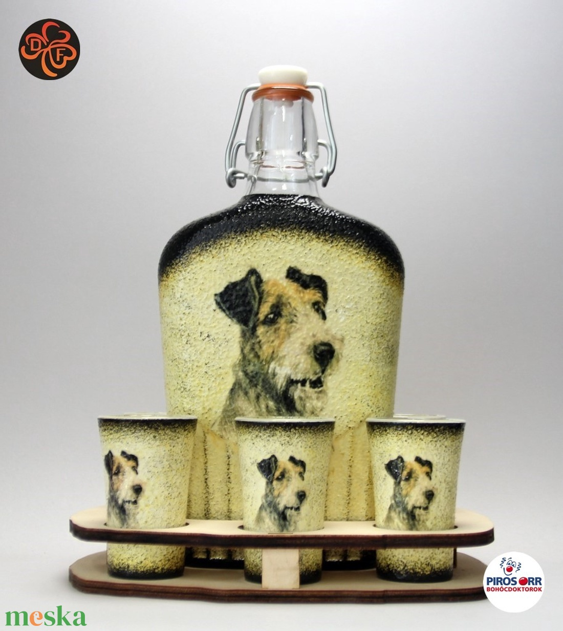 Kutya motívummal (foxi) díszített nagy pálinkás szett ; Házi kedvenc rajongóknak ;Egyedi állat fotóval is ! - Meska.hu