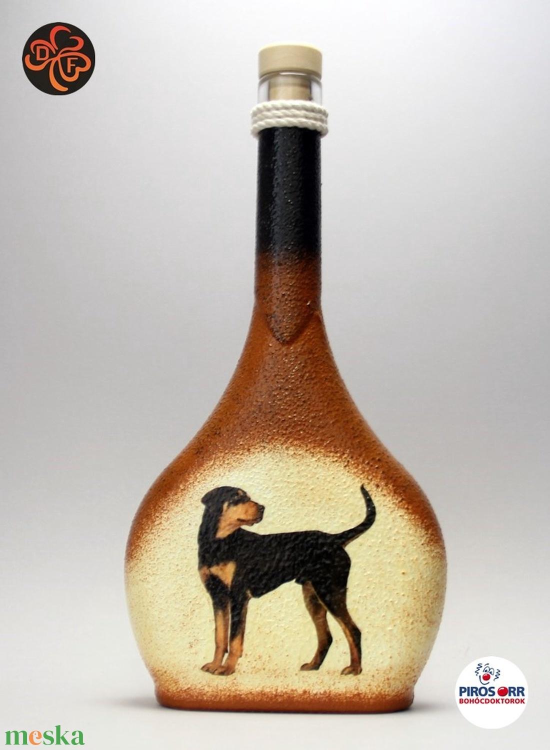 Kutya motívummal (erdélyi kopó) díszített pálinkás üveg  ; Házi kedvenc rajongóknak ;Egyedi állat fotóval is ! (decorfantasy) - Meska.hu